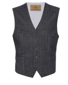 Albert Stretch Vest in Herringbone-Nifty Genius