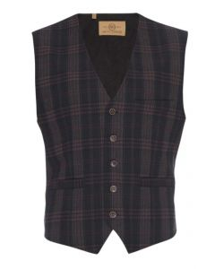 Albert Stretch Vest in Navy Plaid- Nifty Genius