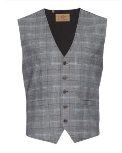 Albert Stretch Vest in Gray Plaid-Nifty Genius