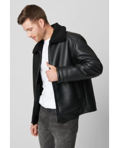 FAUX LEATHER JACKET WITH SHERPA- BLANKNYC